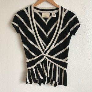 Anthropologie Guinevere Striped Peplum Sweater Top
